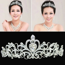 shine Bridal Princess Stunning Crystal Hair Tiara Wedding Crown Veil Headband hs