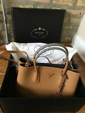 PRADA Saffiano Cuir Twin Talco and Caramel