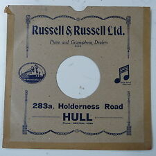 """78rpm 10"""" card gramophone record sleeve / cover RUSSELL & RUSSELL , HULL"""