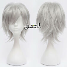 Silver Gray 30CM Fashion Basic Style Short Layered Unisex Cosplay Hair Wig