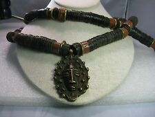 Vintage African Coconut Heishi & Bauxite Necklace with Brass Pendant- 2 Strands
