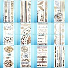 12 sheets/lot flash tattoo metallic gold silver hipster vintage wholesale