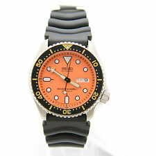 Seiko SKX011J1 Orange Dial Black Rubber Analog Automatic Diver's Men's Watch
