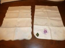 2 Vintage Stamped for Embroidery LINEN TABLE RUNNER Lot Scarf LEEWARDS Dexter