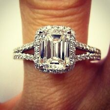 1.70 Ct. Natural Emerald Cut Halo Pave Split Shank Diamond Engagement Ring - GIA