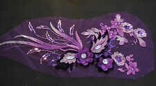 Luxury Large piece Purple & lilac sequins beads floral lace Applique/lace motif