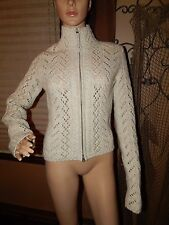 Women's S-M Zipper Front Abercrombie & Fitch Natural Wool Blend Cardigan Sweater