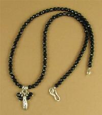 Onyx necklace. Pendant & dangles. Black faceted. Sterling silver. Handmade.