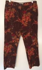 Real Clothes Saks Fifth Avenue Burgundy Floral Jeans Sz 16 EUC