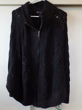 INC NWT size L/XL Black marble soft zip front cable knit pancho w/sleeves