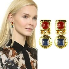 ANTHROPOLOGIE BEAUTIFUL CABOCHON LOOK RED BLUE GOLD DROP DANGLE EARRINGS NEW