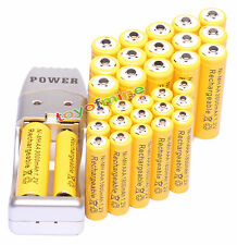 32x AA AAA 3000mAh 1800mAh Batería recargable de 1.2V amarillo + Cargador USB