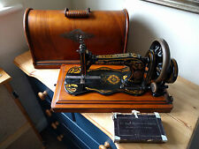 Antique Fiddle Based Singer Sewing Machine Vintage 1871 Hand Crank with Box 12K