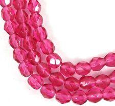 50 Firepolish Czech Glass Faceted Round Beads - Fuchsia 4mm