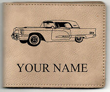 1960 Ford T-Bird Leather Billfold With Drawing and Your Name On It-Nice Quality
