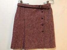 Anthropologie VIntage Italy 6 Red Pink Tweed Lined Wool Button Belted Skirt