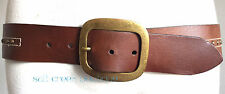 Old Navy HIPPIE M Brass STUDDED Western Stitched Brown Leather Belt