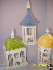 White Wood Bird Cages Decorative Set of 3 Ceramic Roof Blue, Yellow, Green  NEW