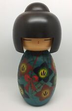 "Large 9.5"" Vintage Japanese Wooden Kokeshi Doll, Collectible, Blue Red (RF564)"