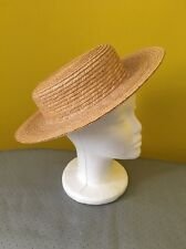 Vintage Laura Ashley Straw Hat Boater Hat 1930s / Victorian Style