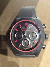 Tudor Fastrider Black Shield Watch Black Rubber 42000C Red Ceramic Chronograph