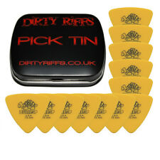 12 x DUNLOP Tortex Triangle guitar picks - 0,73 mm jaune dans un pick tin