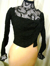 Vintage Victorian Edwardian Bodice Black XS VGC Top LACE B32 FANCY Sequins