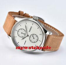 43mm parnis white dial leather power reserve seagull automatic mens watch P683