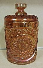 IMPERIAL GLASS HOBSTAR-MARIGOLD CARNIVAL GLASS COOKIE JAR & LID MARKED RARE