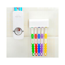 Toothpaste Dispenser + 5 Toothbrush Holder Set Wall Mount Stand US  Seller