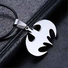 1Pc new Unisex Bat Batman Pendant Necklace Silver Stainless Steel Jewelry