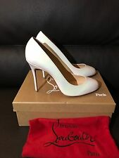 NIB 2017 CHRISTIAN LOUBOUTIN Simple White Patent Leather Pumps RED Heels 40 9.5