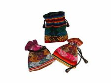 #612  12 Pack Medicine Bags Hand Woven Assorted Colors Pouch Wholesale Lot Peru