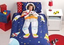 Spaceman - Single Bed Quilt Cover Set - Fully Reversible + Spaceship Cushion
