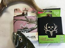 TWO 6 oz FLASK Stainless Steel Hip Pocket PINK Camouflage BLACK,  BONE COLLECTOR
