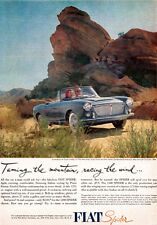 Blue Fiat Spider PININ FARINA STYLING Racing The Wind CONVERTIBLE 1961 Print Ad