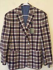 $295 NWT Lauren Ralph Lauren Madras Sport Coat Blazer Mens Size 42S 42 Short