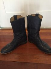 Justin Pull-On Cowboy Boots Blue Women's Size 8B Medium Style L3744 Leather