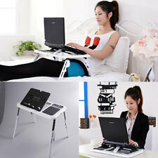 Portable Adjustable Laptop Desk Table Bed Sofa Stand Tray with Cooling Fan