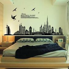 Home Decor Modern City Skyline Silhouette Removable Wall Sticker Art Decal Mural