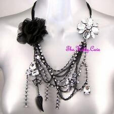Black Gothic Punk Rock Retro Flower Corsage Crystal Waterfall Statement Necklace