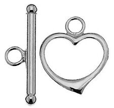 1 STERLING SILVER 925 SUBSTANTIAL STRONG HEART TOGGLE CLASP, 23 X 15 MM