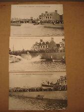 3 CPA  BARFLEUR (50)   Lancement bateau de sauvetage  Arrondissement de VALOGNES
