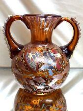 Art Deco Vase mit Emalliemalerei Cirera  Royo, Spanien Moser, Kunstglas, braun