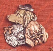 Beautiful tri tone pewter by K & T Pins with personality trio posh dogs brooch