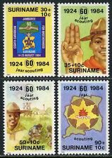 Surinam B314-B317, MNH. Boy Scouts. Emblem, Salute, Gardening, Campfire, 1984
