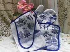 BLUE WILLOW KITCHEN APRON, OVEN MITT & POT HOLDER ORIENTAL ASIAN CHINESE PAGODA