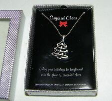 Crystal Cheer Christmas Tree Charm Necklace Genuine European Crystals Silver