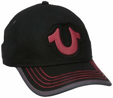 NEW TRUE RELIGION MEN'S PREMIUM BASEBALL TRUCKER HAT CAP HORSESHOE BLACK TR1989