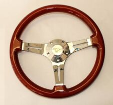 "1965-1969 Ford Mustang Steering Wheel Wood 14"" with Running Pony Center Cap"